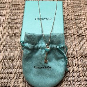 Tiffany & Co. SS Bead Chain & Heart Key Pendent